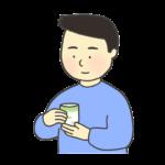 お茶を飲む男性のイラスト