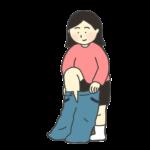 ズボンを履く女性のイラスト