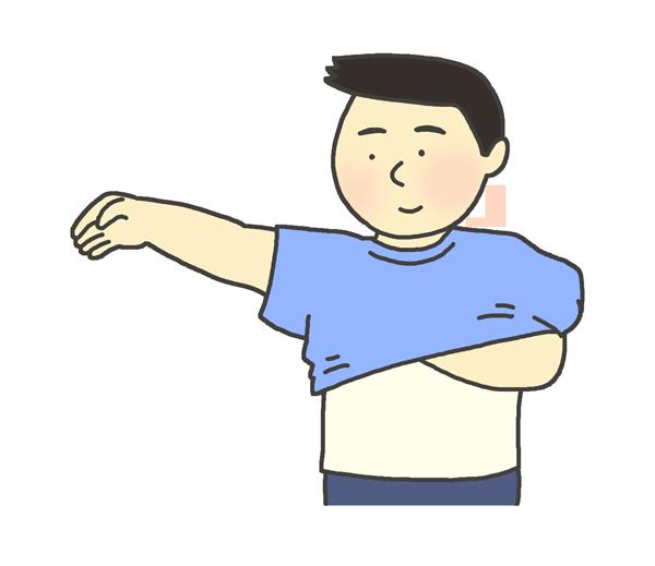 ティーシャツを着る男性のイラスト