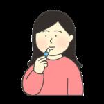 リップクリームを塗る女性のイラスト