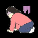 床に膝をついてうなだれる女性のイラスト