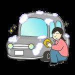 洗車をする女性のイラスト