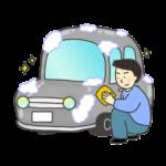 洗車をしている男性のイラスト