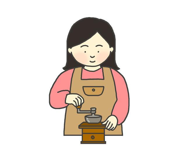 コーヒーミルを挽く女性のイラスト