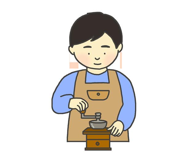 コーヒーミルを挽く男性のイラスト