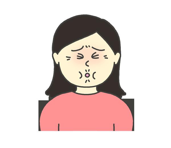すっぱい表情をする女性のイラスト