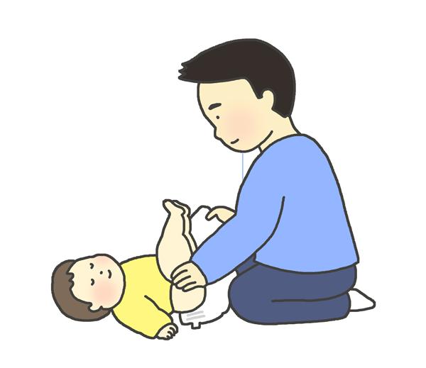 おむつ交換のイラスト(男性)