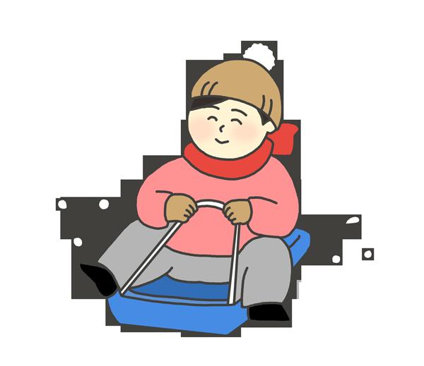 そり滑りをする女の子のイラスト