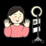 スマホカメラのイラスト(女性)