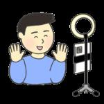 スマホカメラのイラスト(男性)
