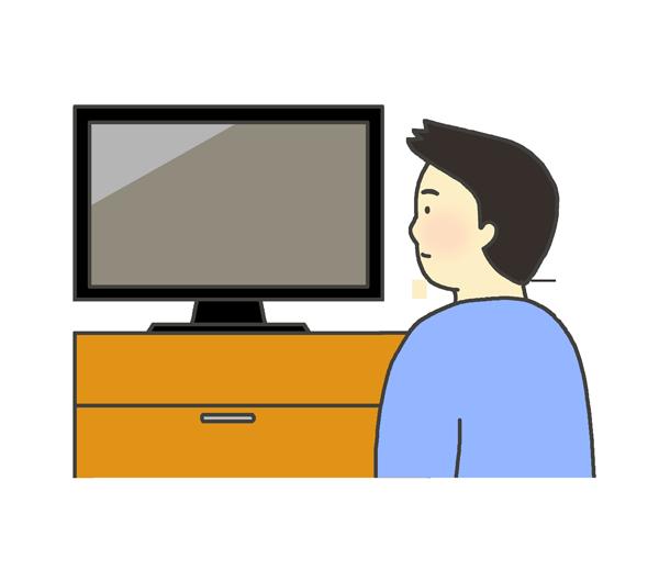 テレビを見る男性のイラスト