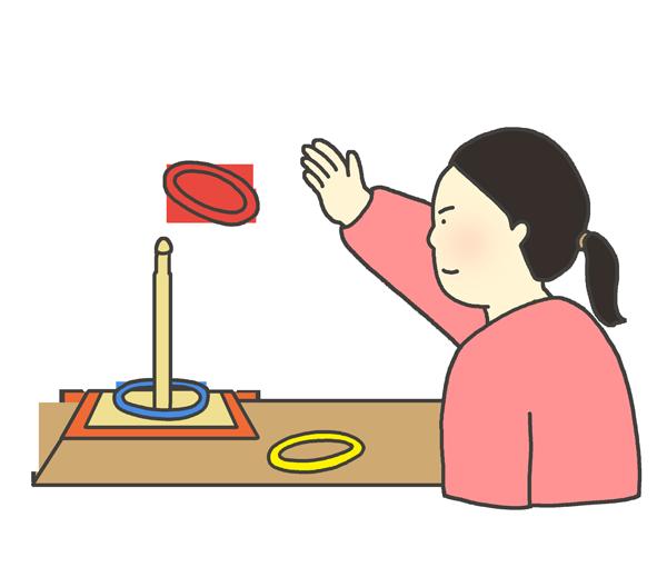 輪投げをする女性のイラスト