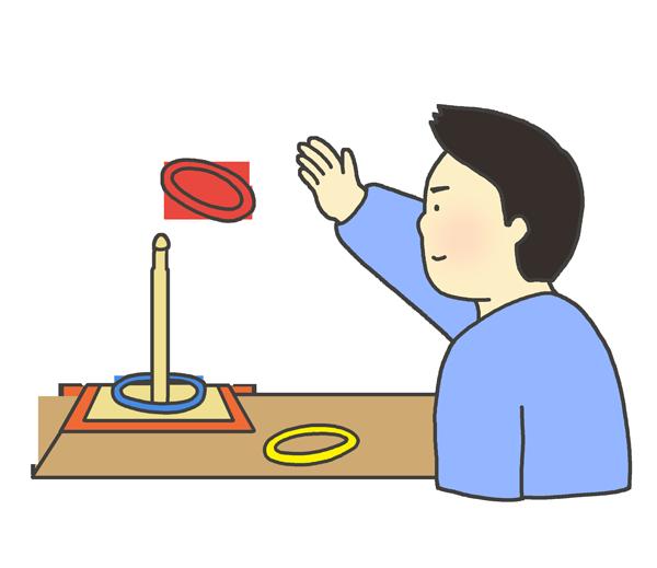 輪投げのイラスト(男性)