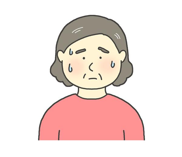 汗をかくおばさんのイラスト