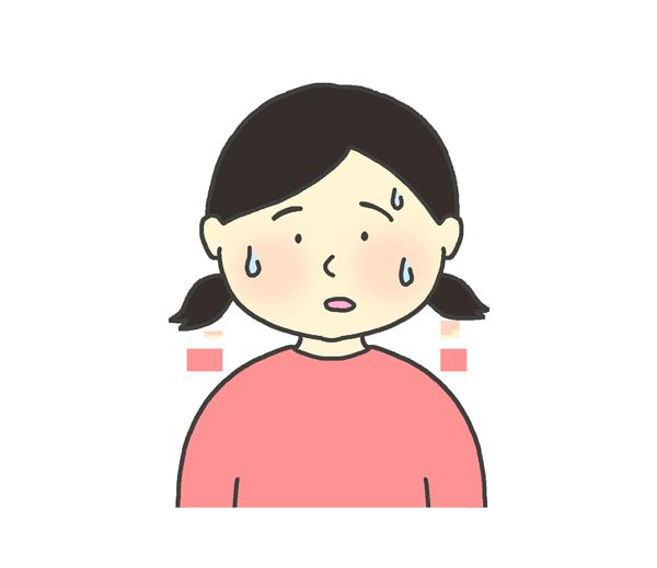 汗をかく女の子のイラスト