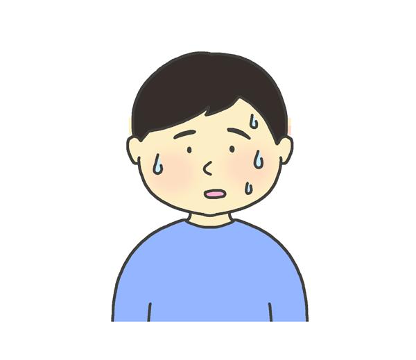汗をかいている男の子のイラスト