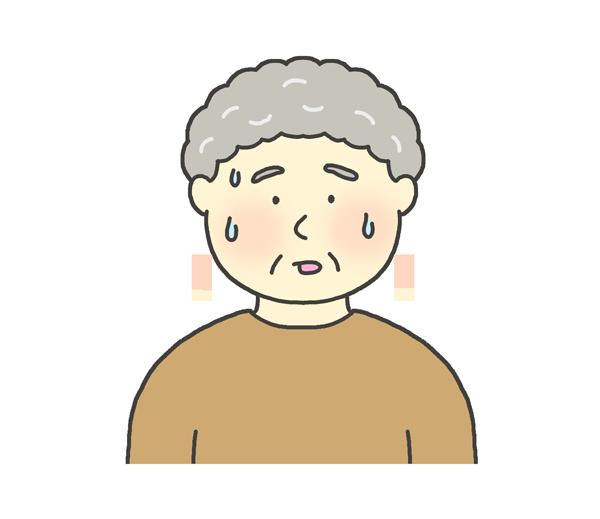 汗をかいているおばあさんのイラスト