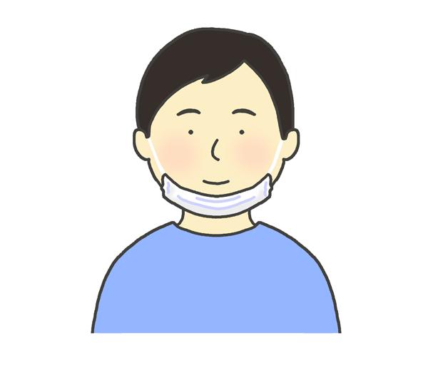 あごマスクのイラスト(男性)