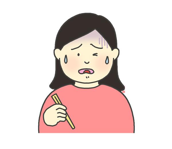 美味しくない表情の女性のイラスト