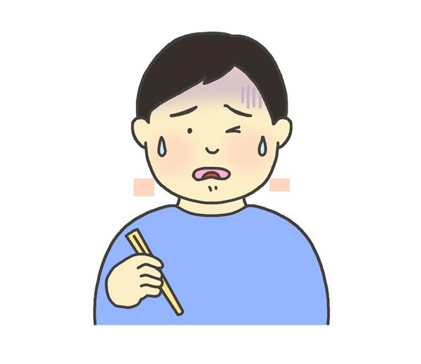 美味しくない表情をする男性のイラスト