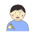 美味しくない表情をする男の子のイラスト