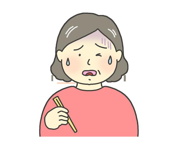 美味しくない表情をするおばさんのイラスト