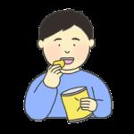 お菓子を食べる男性のイラスト