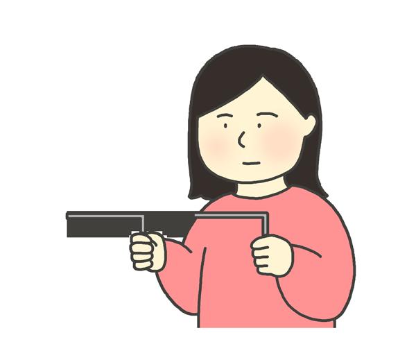 ダウジングをしている女性のイラスト