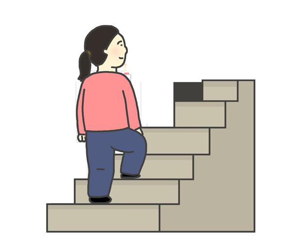 階段をのぼる女性のイラスト