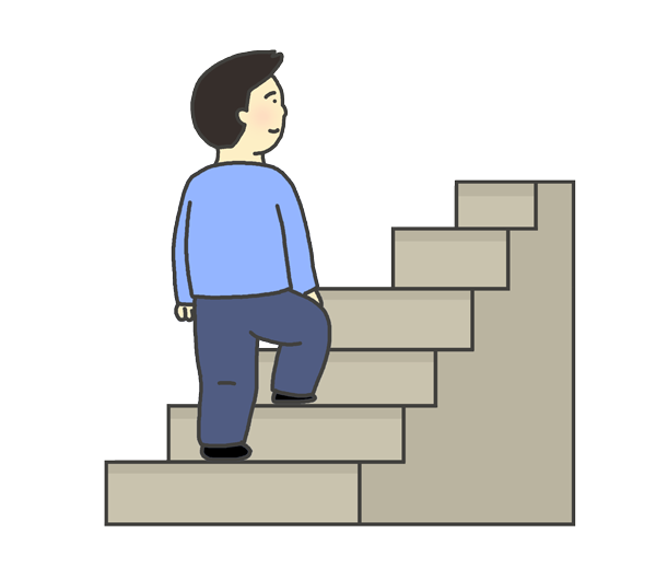 階段をのぼる男性のイラスト