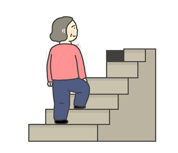 階段をのぼるおばさんのイラスト