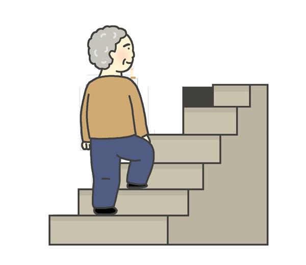 階段をのぼるおばあさんのイラスト