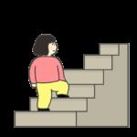 階段をのぼる女の子のイラスト