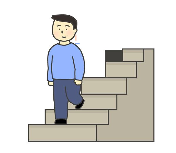 階段を降りる男性のイラスト