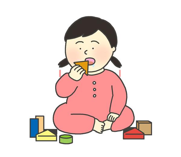 おもちゃを誤飲する女の子のイラスト