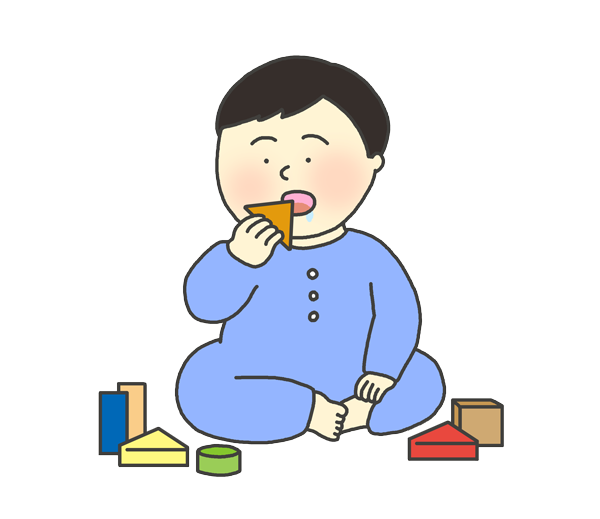 おもちゃを誤飲する男の子のイラスト