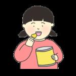 お菓子を食べる女の子のイラスト
