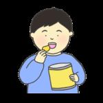 お菓子を食べる男の子のイラスト