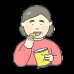 お菓子を食べるおばさんのイラスト