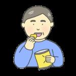 お菓子を食べるおじさんのイラスト