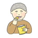 お菓子を食べるおばあさんのイラスト
