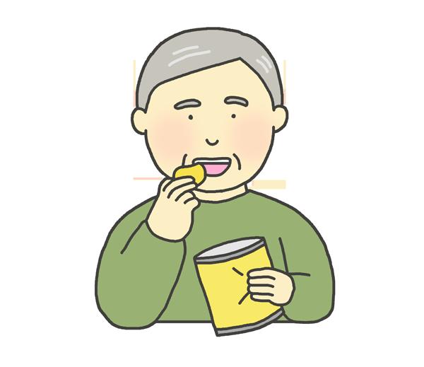 お菓子を食べるおじいさんのイラスト