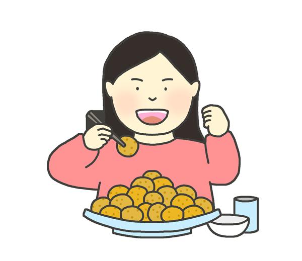 大食い選手のイラスト(女性)