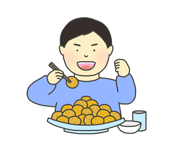大食い選手のイラスト(男性)