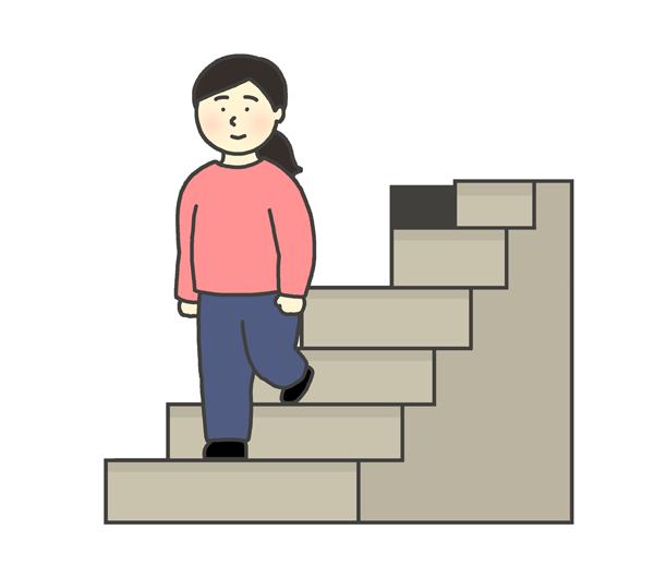 階段を降りる女性のイラスト