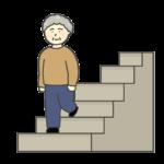 階段をおりるおばさんのイラスト