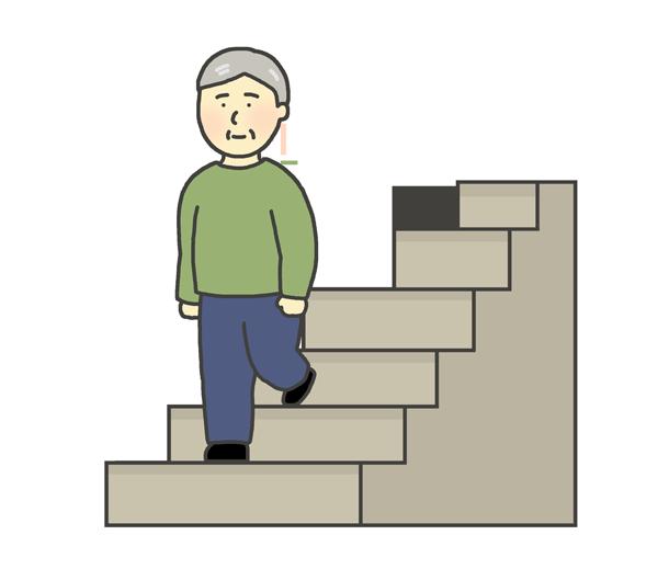 階段をおりるおじいさんのイラスト