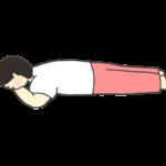うつ伏せに寝ている女性のイラスト