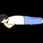 うつ伏せに寝ている男性のイラスト