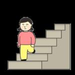 階段をおりる女の子のイラスト